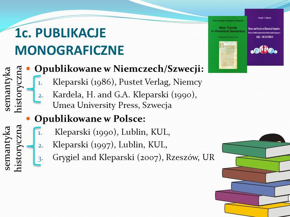 1c. PUBLIKACJE MONOGRAFICZNE Opublikowane w Niemczech/Szwecji: 1. Kleparski (1986), Pustet Verlag, Niemcy 2. Kardela, H. and G.A. Kleparski (1990), Um