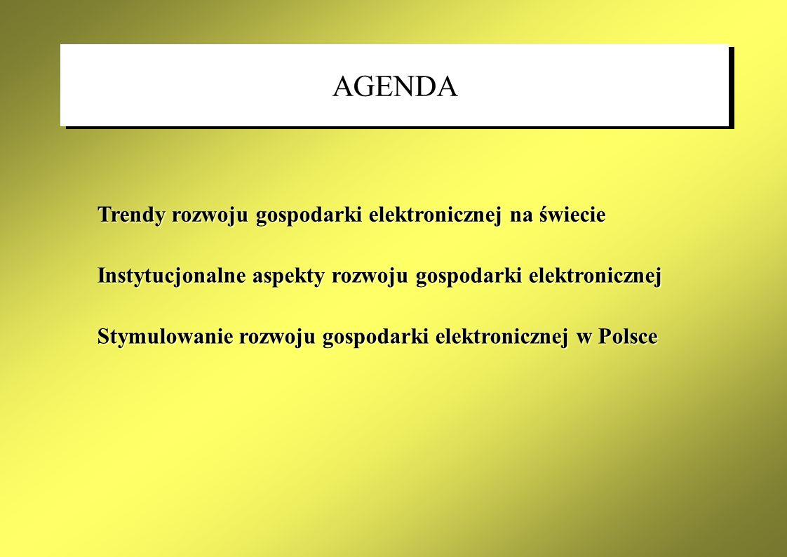 ZrozumienieZasięgZaufanie Mechanizmy konkurencji rynkowej Konkurencyjne środowisko Stabilne warunki regulacyjne Rozwój gospodarki elektronicznej w Polsce wymaga: zapewnienia stabilnych warunków prawnychzapewnienia stabilnych warunków prawnych zaangażowania administracji państwowejzaangażowania administracji państwowej współpracy z przedsiębiorcami, inwestoramiwspółpracy z przedsiębiorcami, inwestorami Zaangażowanie administracji Nadzór państwa FUNDAMENTY STRATEGII DLA ROZWOJU GOSPODARKI ELEKTRONICZNEJ