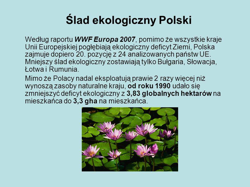 Ślad ekologiczny Polski Według raportu WWF Europa 2007, pomimo że wszystkie kraje Unii Europejskiej pogłębiają ekologiczny deficyt Ziemi, Polska zajmu