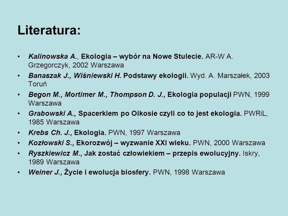 Literatura: Kalinowska A., Ekologia – wybór na Nowe Stulecie. AR-W A. Grzegorczyk, 2002 Warszawa Banaszak J., Wiśniewski H. Podstawy ekologii. Wyd. A.