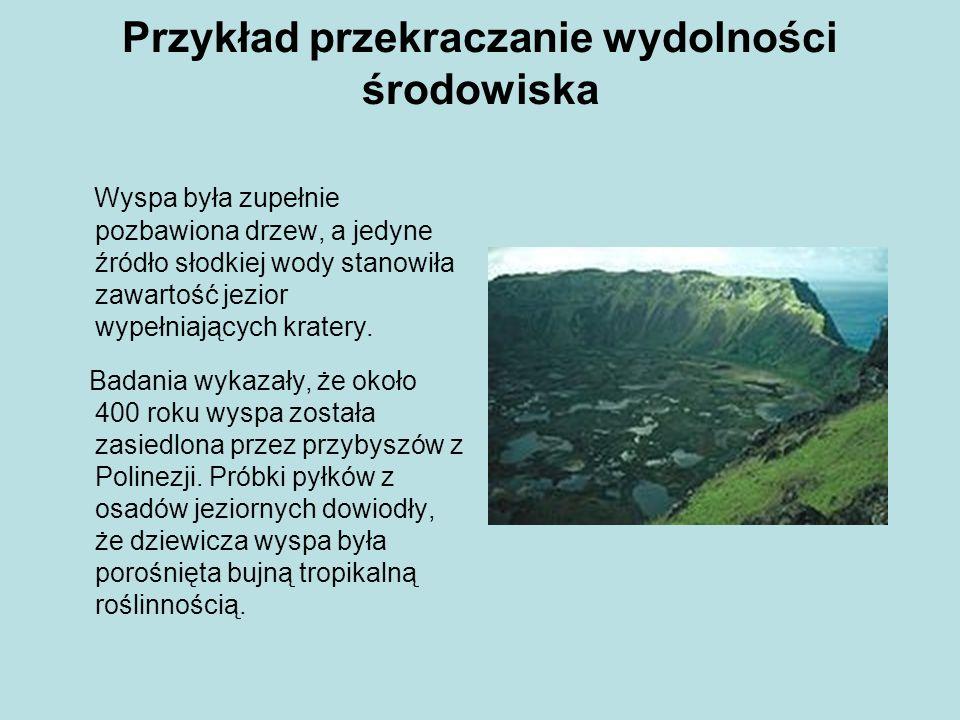 Przykład przekraczanie wydolności środowiska Szybko rozwinęło się tu rolnictwo, a warunki życia były bardzo dobre, co spowodowało gwałtowny wzrost liczby ludności, potrzebujących drewna na opał i do budowy domów.