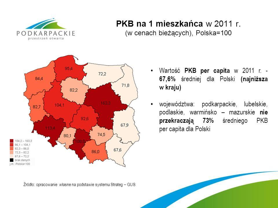 PKB na 1 mieszkańca w 2011 r.(w cenach bieżących), Polska=100 Wartość PKB per capita w 2011 r.