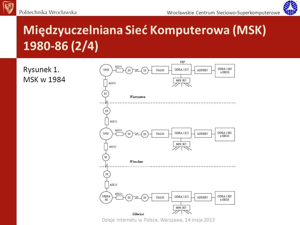 Wrocławskie Centrum Sieciowo-Superkomputerowe Międzyuczelniana Sieć Komputerowa (MSK) 1980-86 (2/4) Dzieje Internetu w Polsce, Warszawa, 14 maja 2013