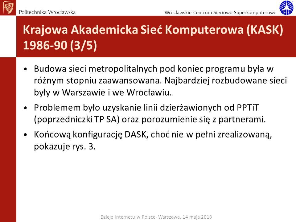 Wrocławskie Centrum Sieciowo-Superkomputerowe Krajowa Akademicka Sieć Komputerowa (KASK) 1986-90 (3/5) Budowa sieci metropolitalnych pod koniec progra