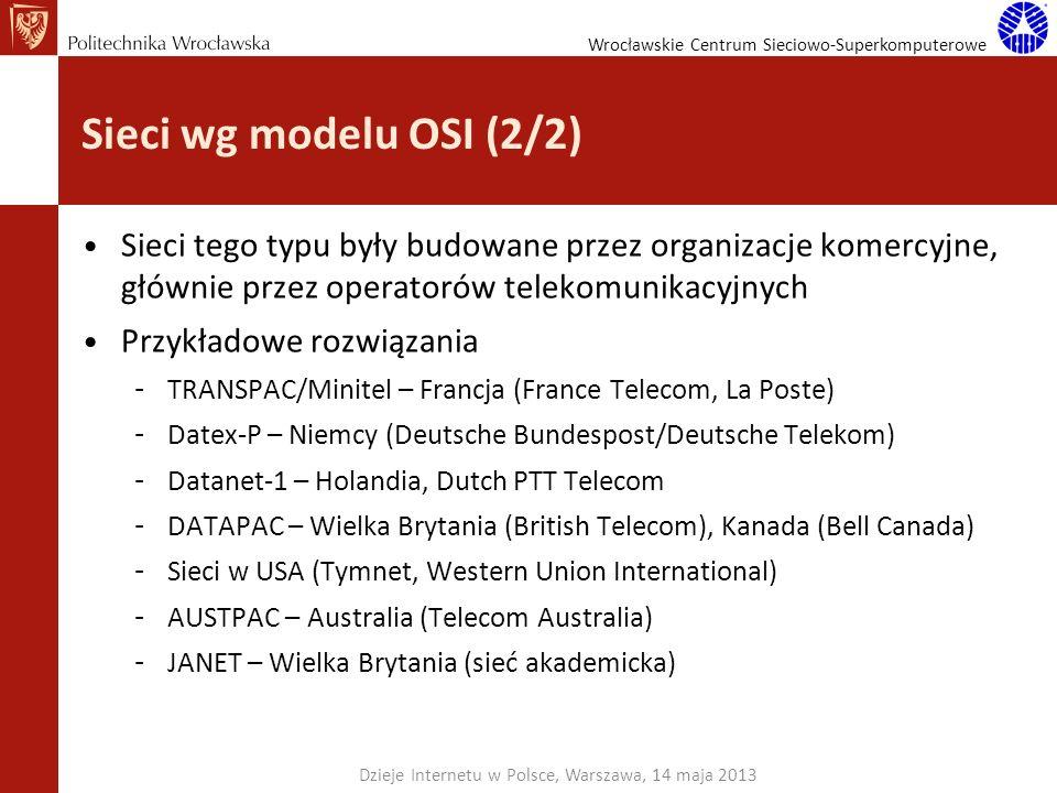 Wrocławskie Centrum Sieciowo-Superkomputerowe Sieci wg modelu OSI (2/2) Sieci tego typu były budowane przez organizacje komercyjne, głównie przez oper