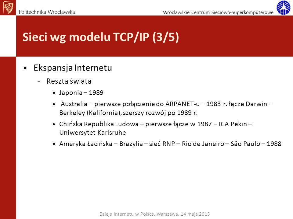 Wrocławskie Centrum Sieciowo-Superkomputerowe Sieci wg modelu TCP/IP (3/5) Ekspansja Internetu – Reszta świata Japonia – 1989 Australia – pierwsze poł