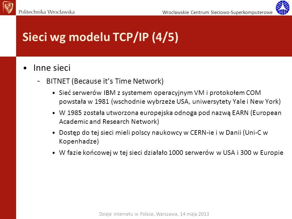 Wrocławskie Centrum Sieciowo-Superkomputerowe Sieci wg modelu TCP/IP (4/5) Inne sieci – BITNET (Because its Time Network) Sieć serwerów IBM z systemem