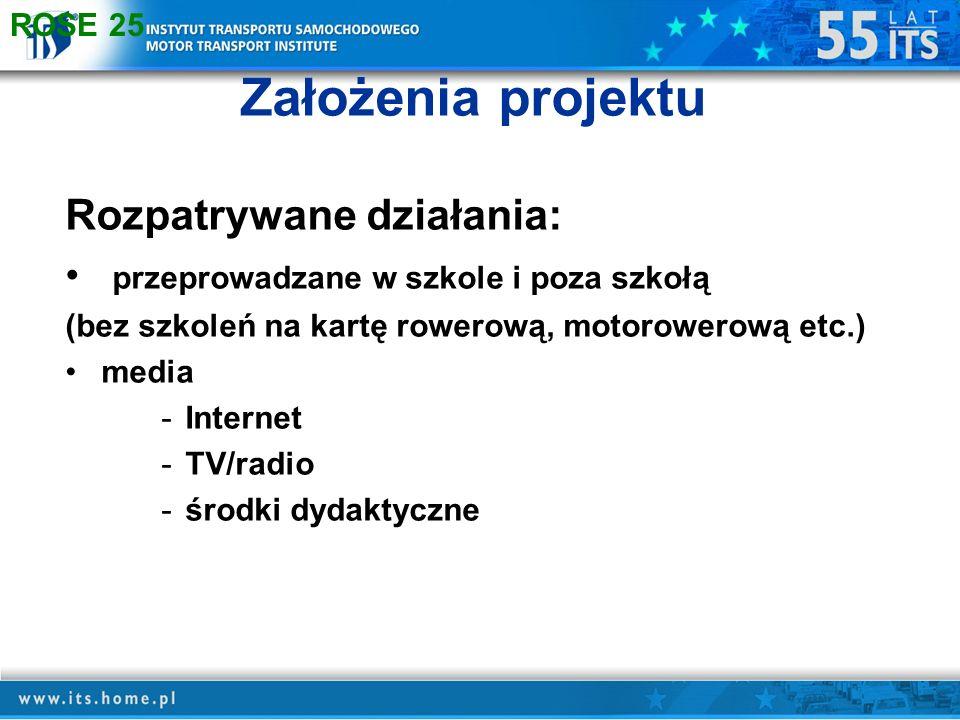 Założenia projektu Rozpatrywane działania: przeprowadzane w szkole i poza szkołą (bez szkoleń na kartę rowerową, motorowerową etc.) media -Internet -TV/radio -środki dydaktyczne ROSE 25