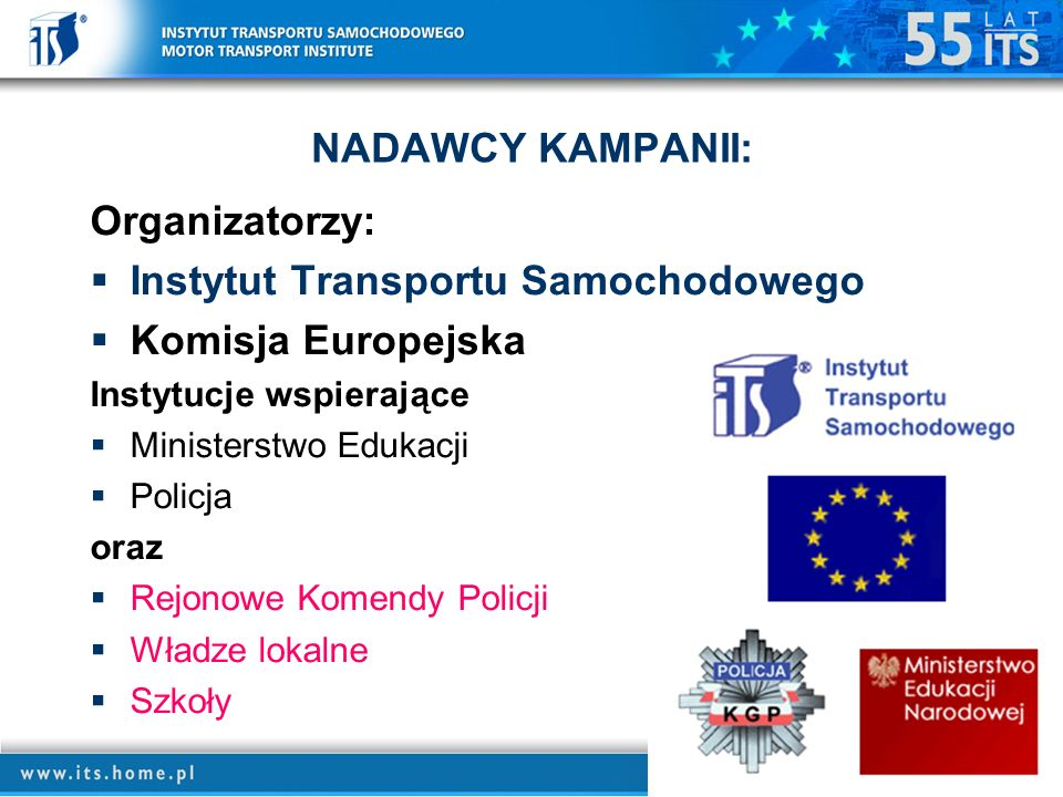 NADAWCY KAMPANII: Organizatorzy: Instytut Transportu Samochodowego Komisja Europejska Instytucje wspierające Ministerstwo Edukacji Policja oraz Rejonowe Komendy Policji Władze lokalne Szkoły