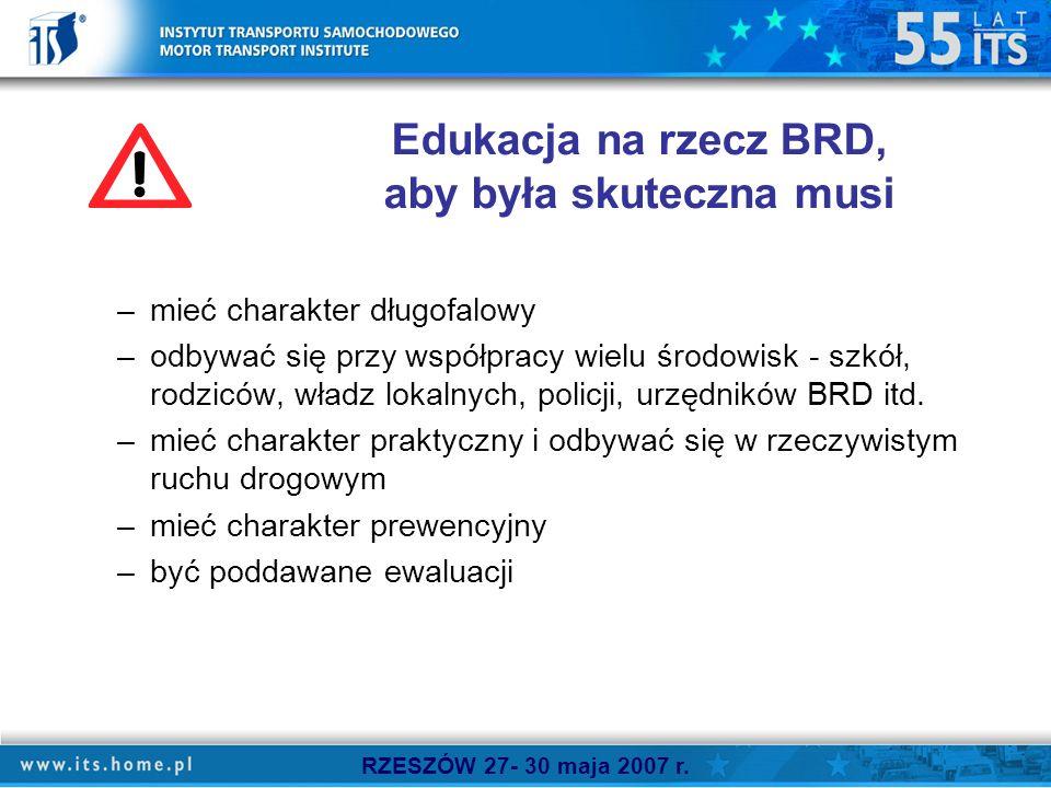 Edukacja na rzecz BRD, aby była skuteczna musi –mieć charakter długofalowy –odbywać się przy współpracy wielu środowisk - szkół, rodziców, władz lokalnych, policji, urzędników BRD itd.