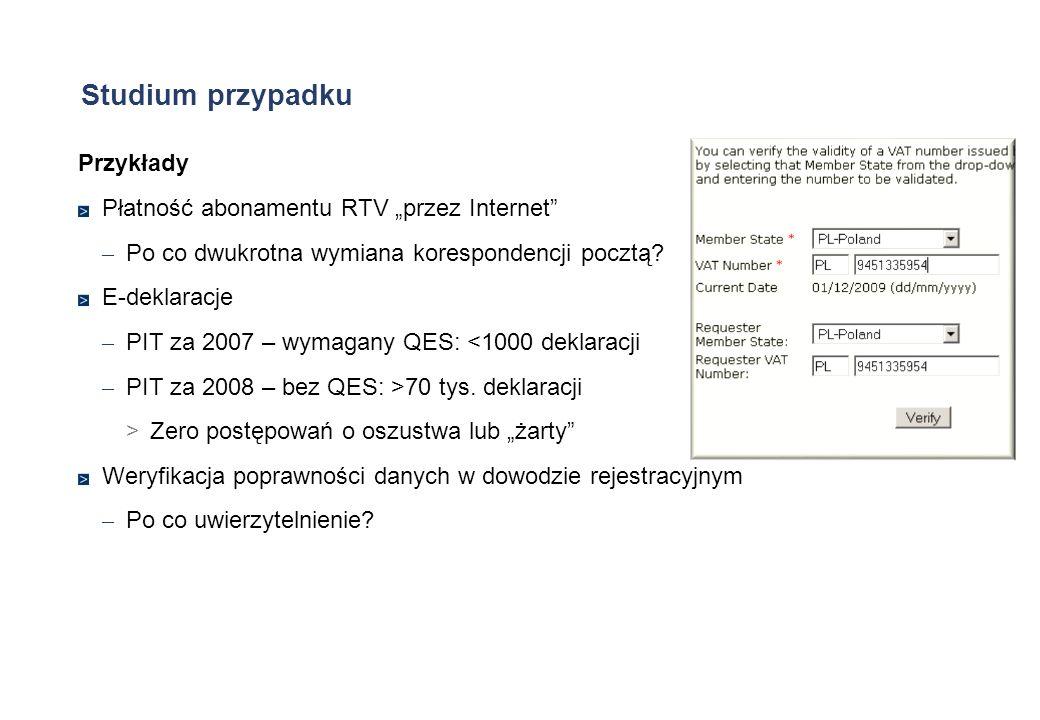 Studium przypadku Przykłady Płatność abonamentu RTV przez Internet – Po co dwukrotna wymiana korespondencji pocztą? E-deklaracje – PIT za 2007 – wymag
