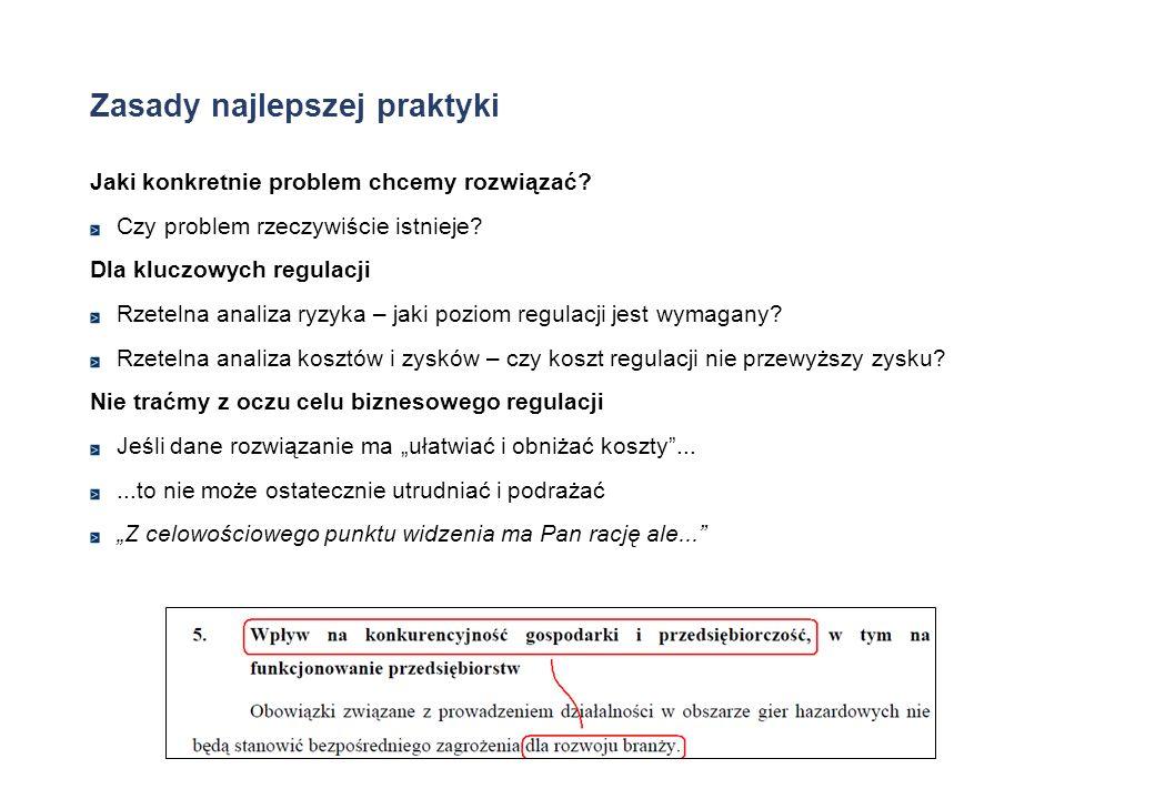 Zasady najlepszej praktyki Jaki konkretnie problem chcemy rozwiązać? Czy problem rzeczywiście istnieje? Dla kluczowych regulacji Rzetelna analiza ryzy