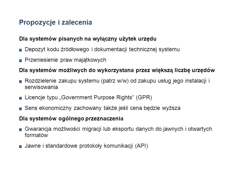Propozycje i zalecenia Dla systemów pisanych na wyłączny użytek urzędu Depozyt kodu źródłowego i dokumentacji technicznej systemu Przeniesienie praw m