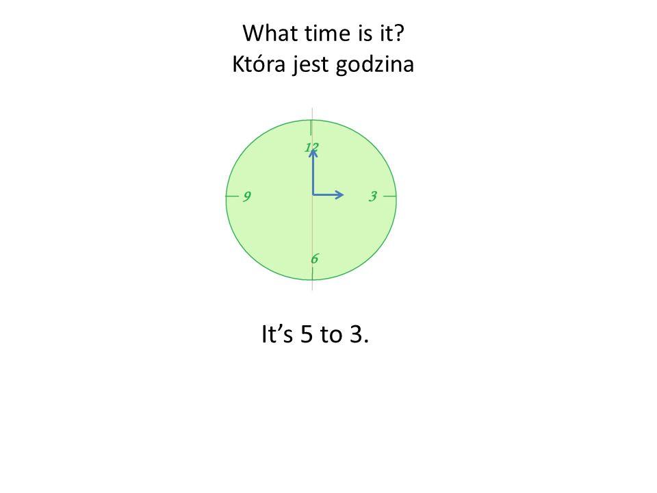 W języku angielskim godziny podajemy w liczbach tylko do 12.