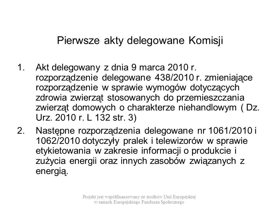Pierwsze akty delegowane Komisji 1.Akt delegowany z dnia 9 marca 2010 r. rozporządzenie delegowane 438/2010 r. zmieniające rozporządzenie w sprawie wy