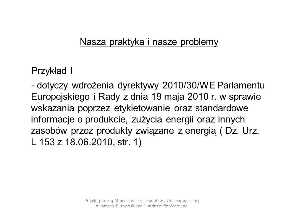 Nasza praktyka i nasze problemy Przykład I - dotyczy wdrożenia dyrektywy 2010/30/WE Parlamentu Europejskiego i Rady z dnia 19 maja 2010 r. w sprawie w