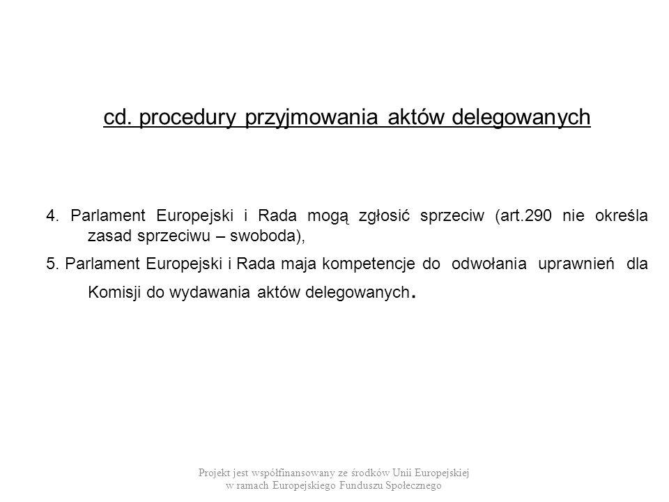 cd. procedury przyjmowania aktów delegowanych 4. Parlament Europejski i Rada mogą zgłosić sprzeciw (art.290 nie określa zasad sprzeciwu – swoboda), 5.
