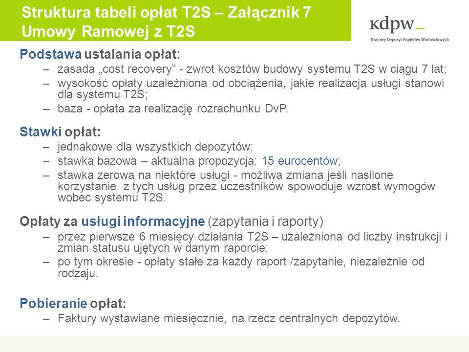 Podstawa ustalania opłat: –zasada cost recovery - zwrot kosztów budowy systemu T2S w ciągu 7 lat; –wysokość opłaty uzależniona od obciążenia, jakie realizacja usługi stanowi dla systemu T2S; –baza - opłata za realizację rozrachunku DvP.