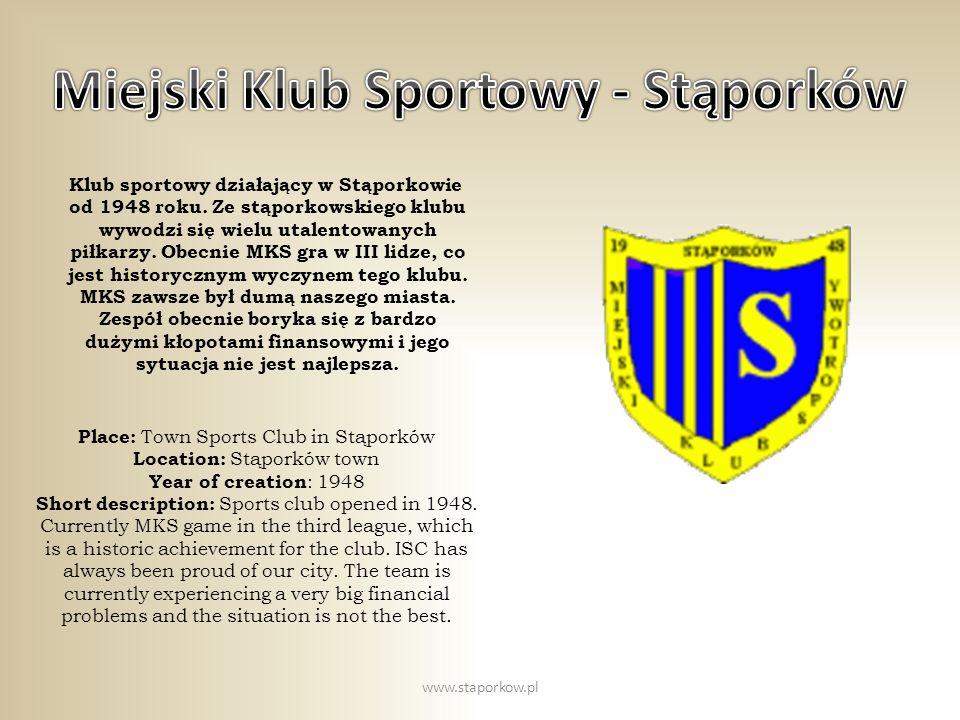 Klub sportowy działający w Stąporkowie od 1948 roku. Ze stąporkowskiego klubu wywodzi się wielu utalentowanych piłkarzy. Obecnie MKS gra w III lidze,