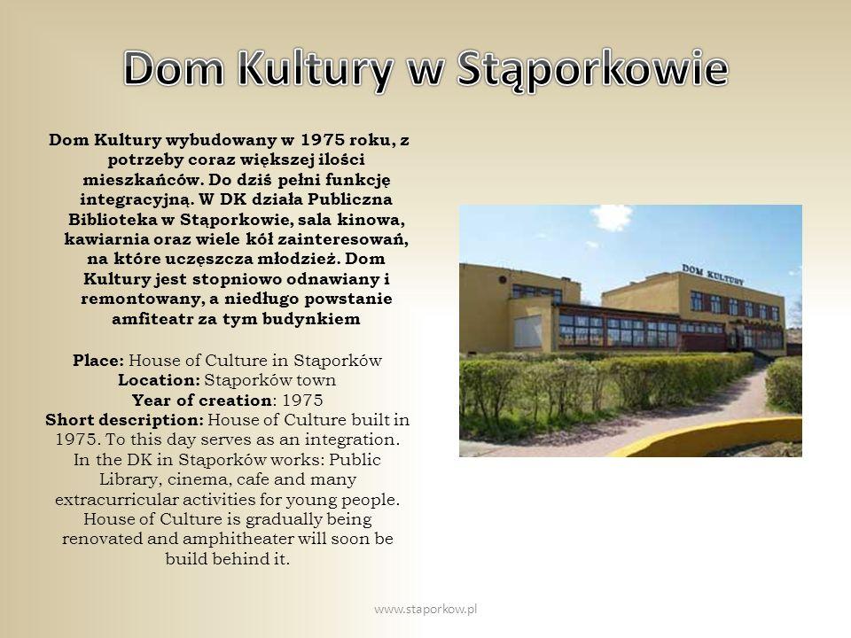 Dom Kultury wybudowany w 1975 roku, z potrzeby coraz większej ilości mieszkańców. Do dziś pełni funkcję integracyjną. W DK działa Publiczna Biblioteka