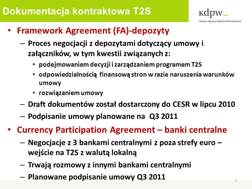 Dokumentacja kontraktowa T2S Framework Agreement (FA)-depozyty – Proces negocjacji z depozytami dotyczący umowy i załączników, w tym kwestii związanych z: podejmowaniem decyzji i zarządzaniem programem T2S odpowiedzialnością finansową stron w razie naruszenia warunków umowy rozwiązaniem umowy – Draft dokumentów został dostarczony do CESR w lipcu 2010 – Podpisanie umowy planowane na Q3 2011 Currency Participation Agreement – banki centralne – Negocjacje z 3 bankami centralnymi z poza strefy euro – wejście na T2S z walutą lokalną – Trwają rozmowy z innymi bankami centralnymi – Planowane podpisanie umowy Q3 2011 2