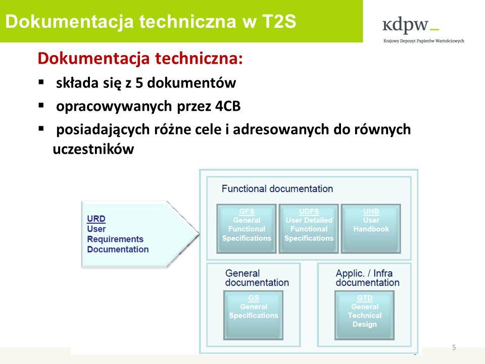 Dokumentacja techniczna w T2S 5 Dokumentacja techniczna: składa się z 5 dokumentów opracowywanych przez 4CB posiadających różne cele i adresowanych do