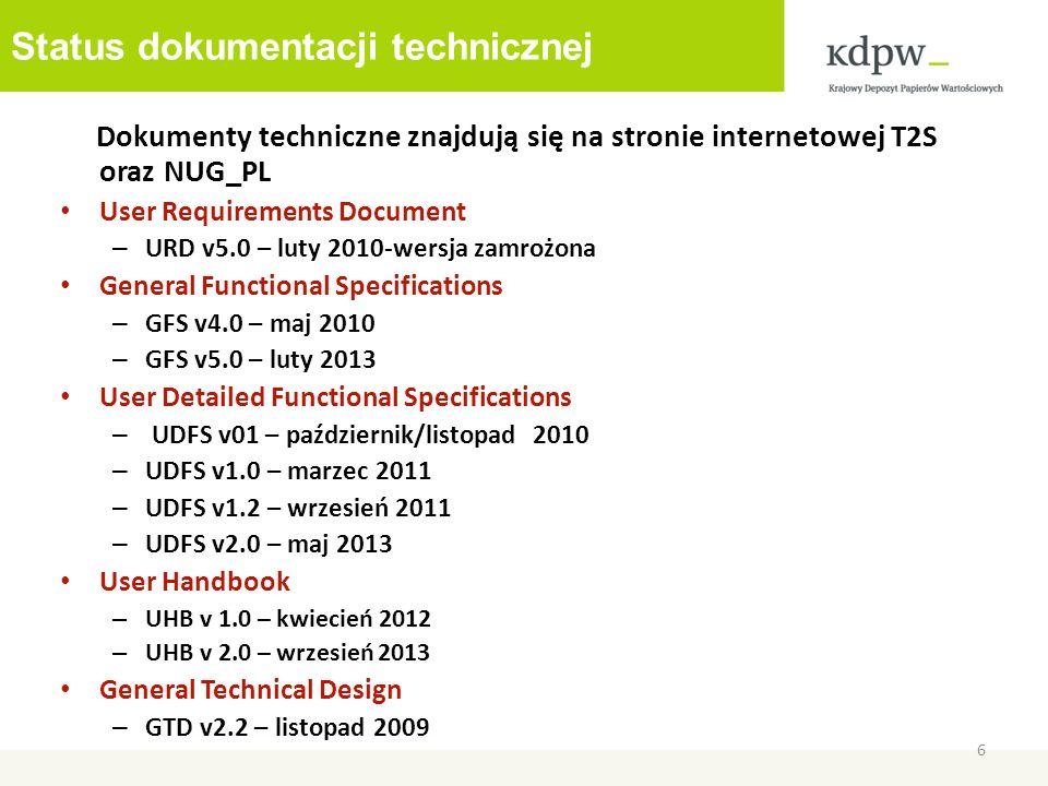 Status dokumentacji technicznej Dokumenty techniczne znajdują się na stronie internetowej T2S oraz NUG_PL User Requirements Document – URD v5.0 – luty 2010-wersja zamrożona General Functional Specifications – GFS v4.0 – maj 2010 – GFS v5.0 – luty 2013 User Detailed Functional Specifications – UDFS v01 – październik/listopad 2010 – UDFS v1.0 – marzec 2011 – UDFS v1.2 – wrzesień 2011 – UDFS v2.0 – maj 2013 User Handbook – UHB v 1.0 – kwiecień 2012 – UHB v 2.0 – wrzesień 2013 General Technical Design – GTD v2.2 – listopad 2009 6