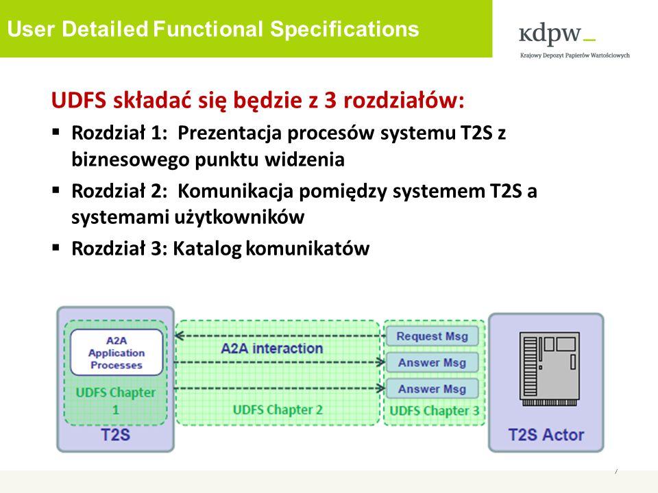 User Detailed Functional Specifications 7 UDFS składać się będzie z 3 rozdziałów: Rozdział 1: Prezentacja procesów systemu T2S z biznesowego punktu widzenia Rozdział 2: Komunikacja pomiędzy systemem T2S a systemami użytkowników Rozdział 3: Katalog komunikatów