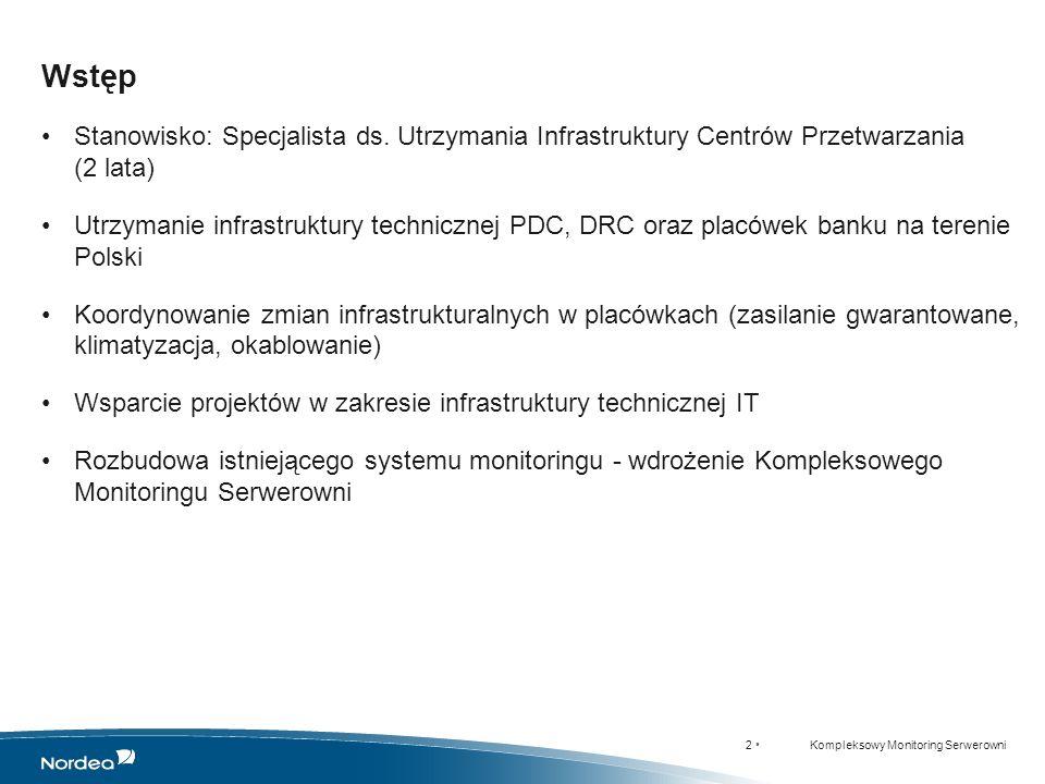 13 KMS dla NHW w SNMPc Kompleksowy Monitoring Serwerowni WARSZAWA - SNMPc GDYNIA - SNMPc WARSZAWA - SCSWin ŁÓDŹ - SNMPc Przykłady wdrożeń