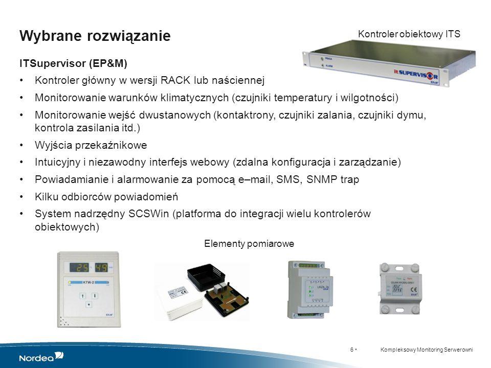 17 Kompleksowy Monitoring Serwerowni WARSZAWA - SNMPc GDYNIA - SNMPc WARSZAWA – SCSWin Agregatornia WARSZAWA – SCSWin Agregatornia ŁÓDŹ - SNMPc Przykłady wdrożeń