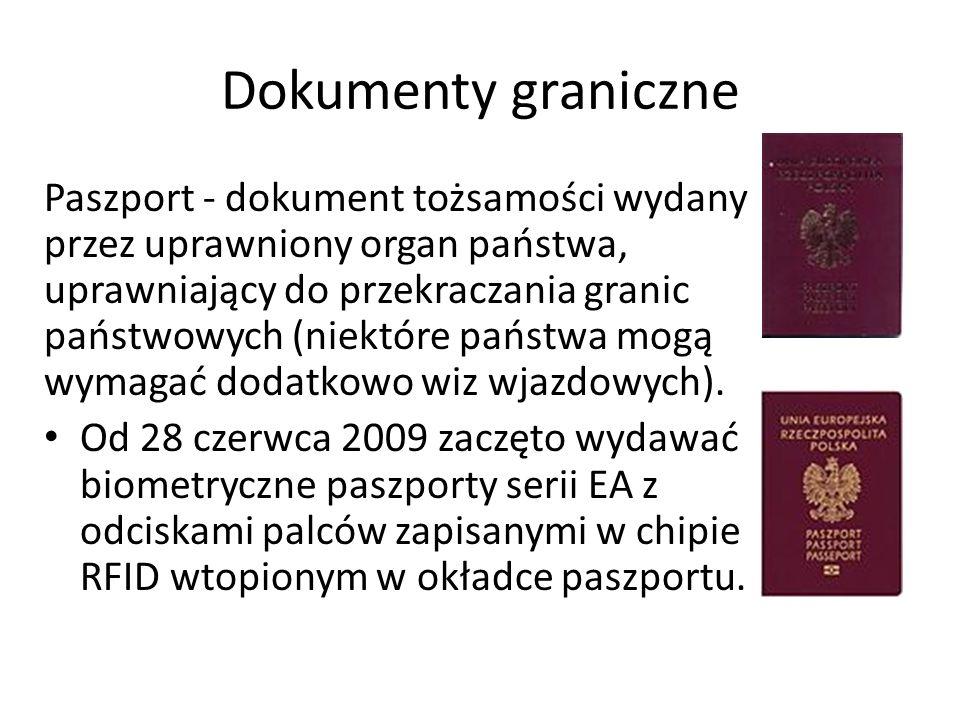 Dokumenty graniczne Paszport - dokument tożsamości wydany przez uprawniony organ państwa, uprawniający do przekraczania granic państwowych (niektóre państwa mogą wymagać dodatkowo wiz wjazdowych).