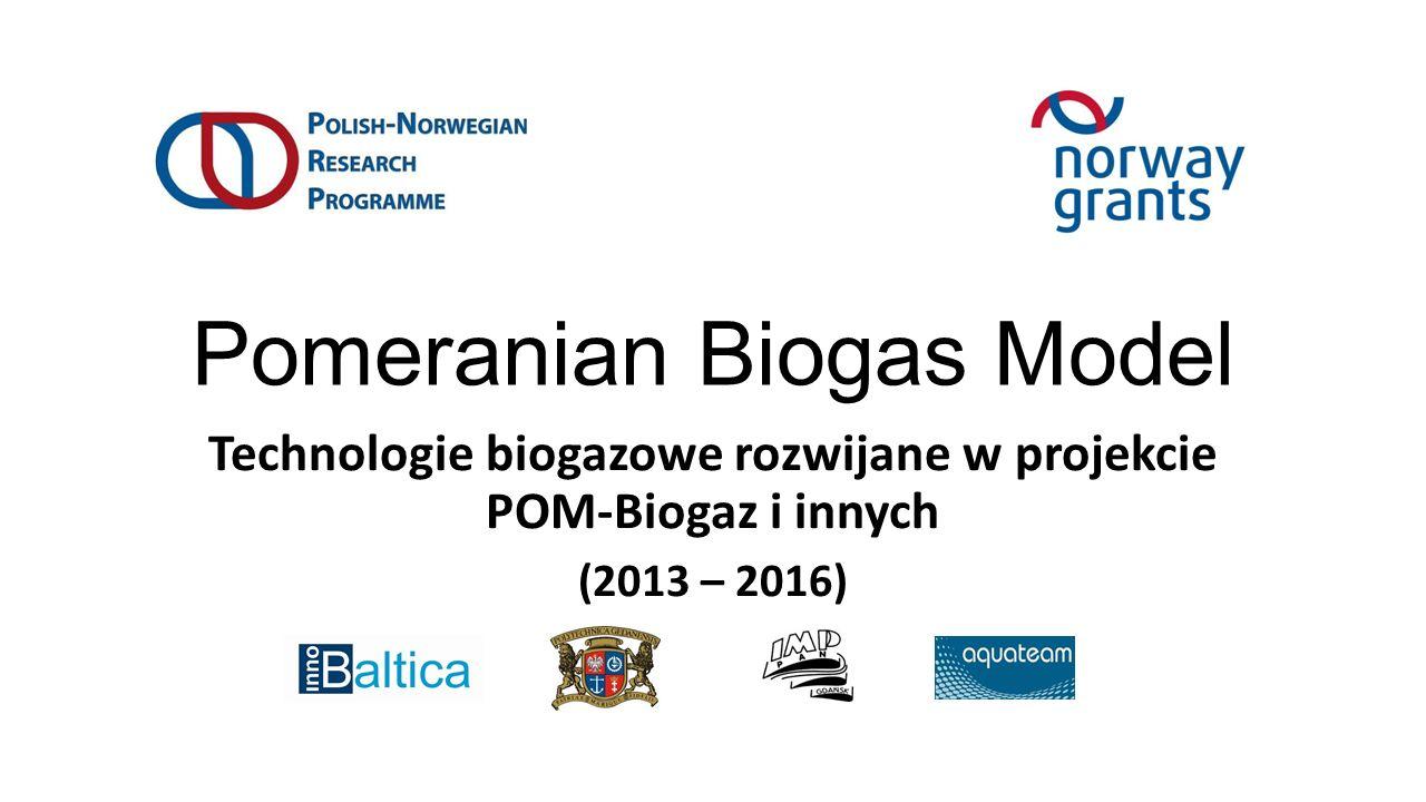 Pomeranian Biogas Model Technologie biogazowe rozwijane w projekcie POM-Biogaz i innych (2013 – 2016)