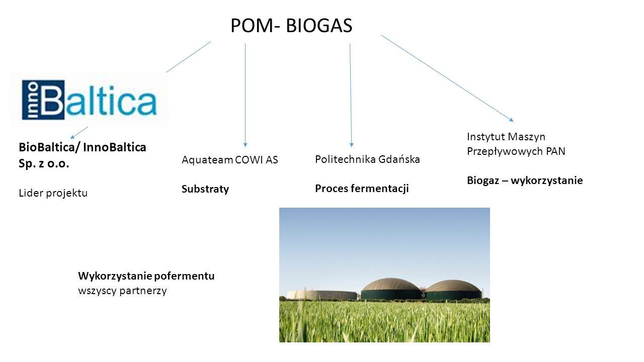 POM- BIOGAS Politechnika Gdańska Proces fermentacji Instytut Maszyn Przepływowych PAN Biogaz – wykorzystanie Aquateam COWI AS Substraty BioBaltica/ In