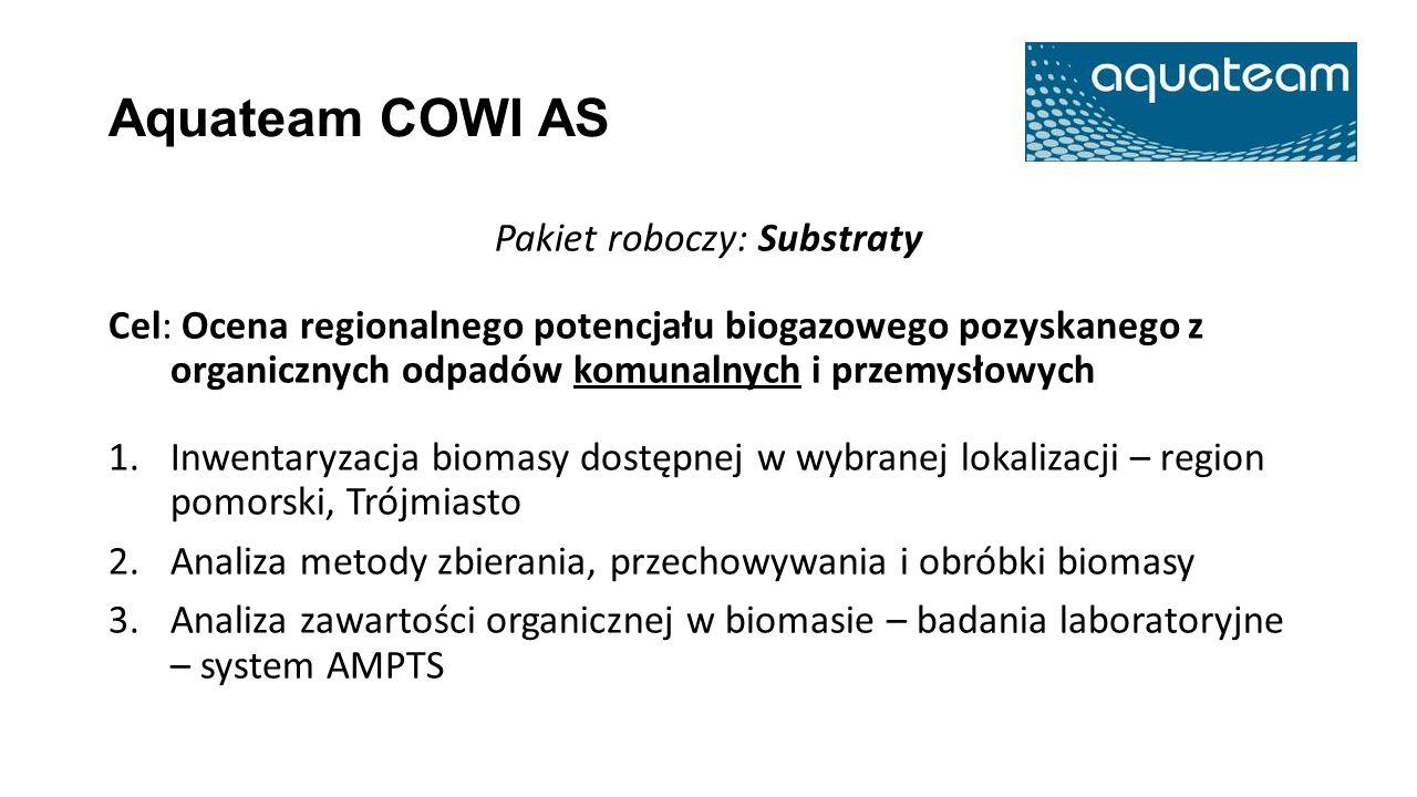 Aquateam COWI AS Pakiet roboczy: Substraty Cel: Ocena regionalnego potencjału biogazowego pozyskanego z organicznych odpadów komunalnych i przemysłowy