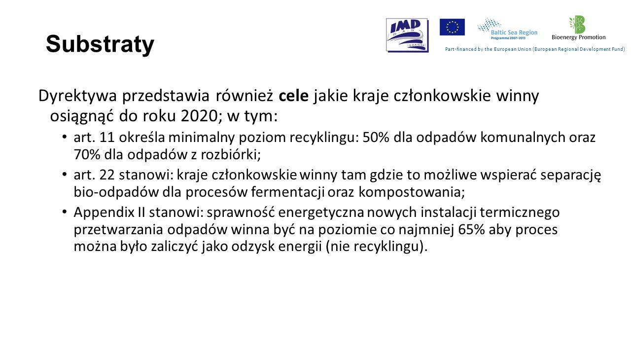 Substraty Part-financed by the European Union (European Regional Development Fund) Artykuł 11 Dyrektywy stanowi, że recykling powinien obejmować strumienie odpadów takich jak … papier, metal, tworzywa sztuczne i szkło z odpadów miejskich.