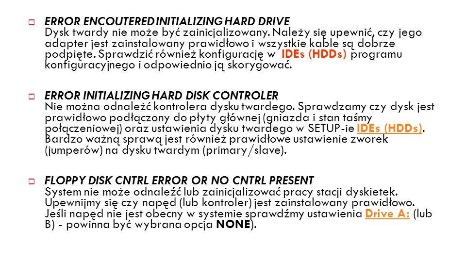 13 ERROR ENCOUTERED INITIALIZING HARD DRIVE Dysk twardy nie może być zainicjalizowany. Należy się upewnić, czy jego adapter jest zainstalowany prawidł