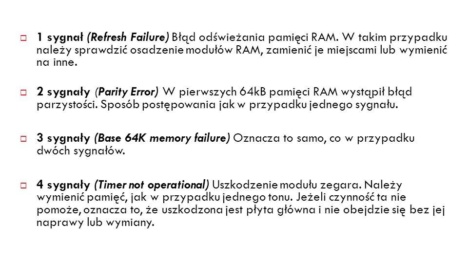 1 sygnał (Refresh Failure) Błąd odświeżania pamięci RAM. W takim przypadku należy sprawdzić osadzenie modułów RAM, zamienić je miejscami lub wymienić