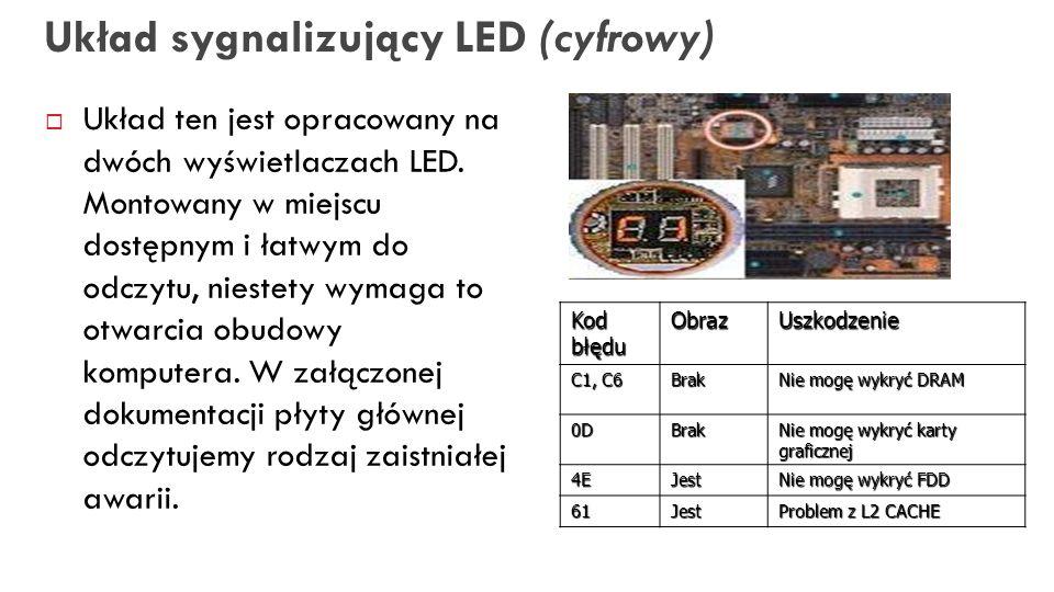 28 Układ sygnalizujący LED (cyfrowy) Układ ten jest opracowany na dwóch wyświetlaczach LED. Montowany w miejscu dostępnym i łatwym do odczytu, niestet
