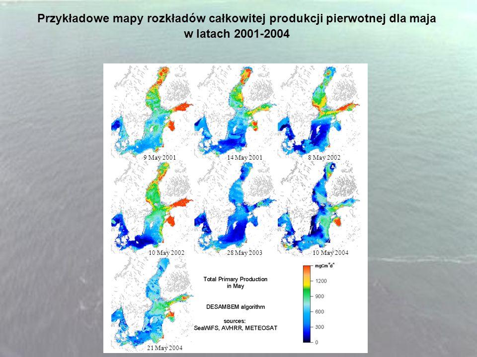 Przykładowe mapy rozkładów całkowitej produkcji pierwotnej dla maja w latach 2001-2004 9 May 2001 14 May 2001 8 May 2002 10 May 2002 28 May 2003 10 Ma