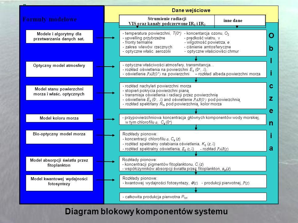 Formuły modelowe Modele i algorytmy dla przetwarzania danych sat. Optyczny model atmosfery Model stanu powierzchni morza i właśc. optycznych Model kol