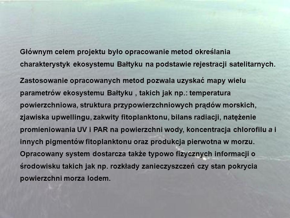Głównym celem projektu było opracowanie metod określania charakterystyk ekosystemu Bałtyku na podstawie rejestracji satelitarnych. Zastosowanie opraco