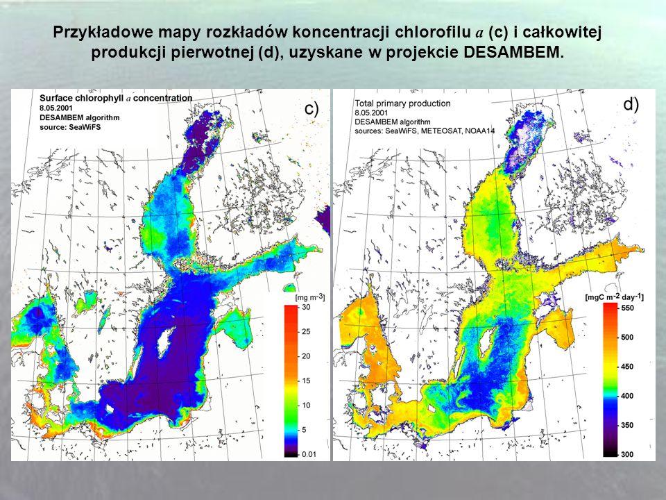 Przykładowe mapy rozkładów koncentracji chlorofilu a (c) i całkowitej produkcji pierwotnej (d), uzyskane w projekcie DESAMBEM.