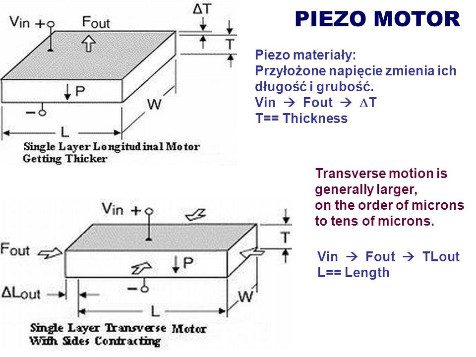 PIEZO MOTOR Transverse motion is generally larger, on the order of microns to tens of microns. Piezo materiały: Przyłożone napięcie zmienia ich długoś