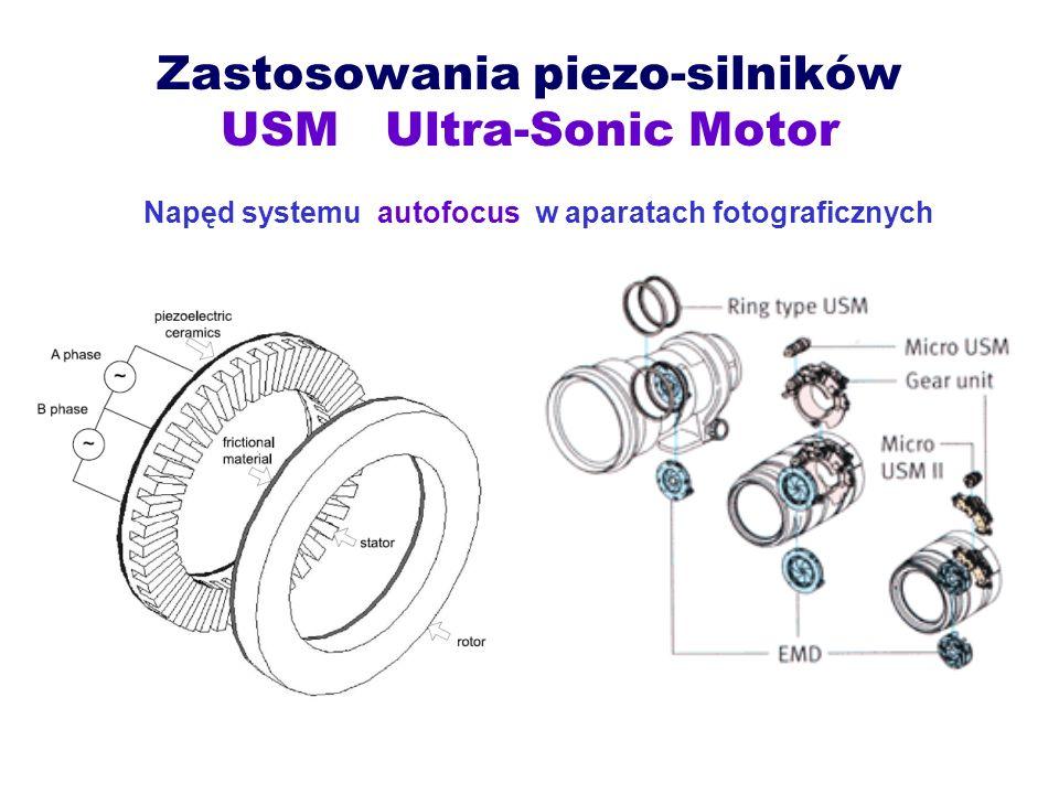 Zastosowania piezo-silników USM Ultra-Sonic Motor Napęd systemu autofocus w aparatach fotograficznych