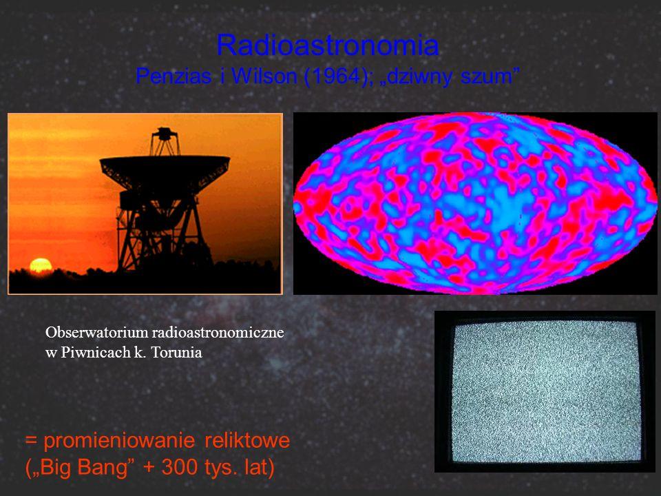Radioastronomia Penzias i Wilson (1964); dziwny szum = promieniowanie reliktowe (Big Bang + 300 tys. lat) Obserwatorium radioastronomiczne w Piwnicach