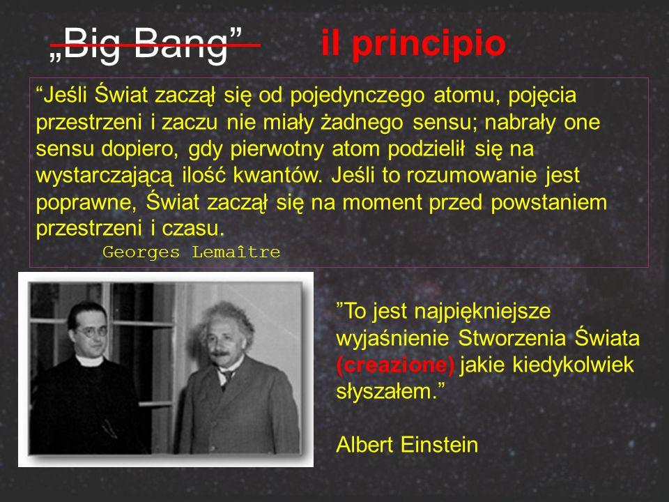 Big Bang Jeśli Świat zaczął się od pojedynczego atomu, pojęcia przestrzeni i zaczu nie miały żadnego sensu; nabrały one sensu dopiero, gdy pierwotny a
