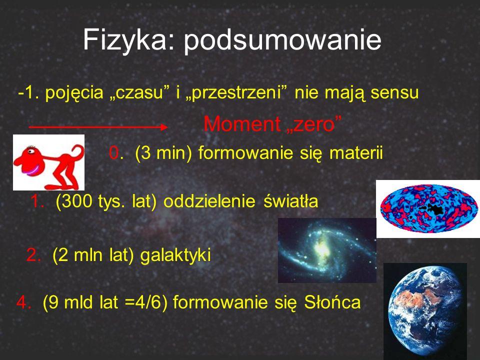 Fizyka: podsumowanie 0. (3 min) formowanie się materii Moment zero 1. (300 tys. lat) oddzielenie światła -1. pojęcia czasu i przestrzeni nie mają sens