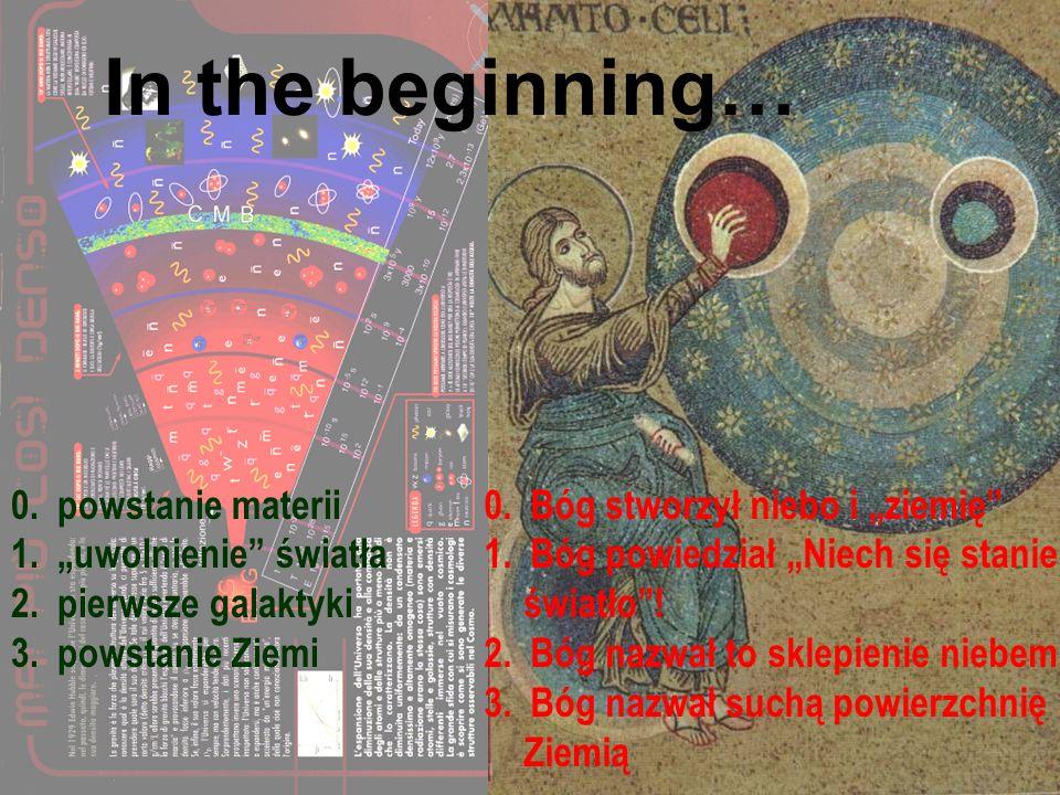 In principio… 0. powstanie materii 1. uwolnienie światła 2. pierwsze galaktyki 3. powstanie Ziemi 0. Bóg stworzył niebo i ziemię 1. Bóg powiedział Nie