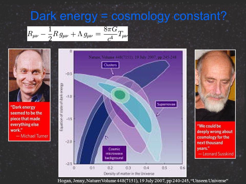 Dark energy = cosmology constant? Nature, Volume 448(7151), 19 July 2007, pp 245-248 Hogan, Jenny, Nature:Volume 448(7151), 19 July 2007, pp 240-245,