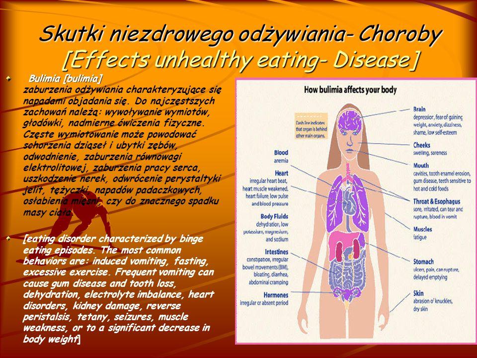 Objawy Anoreksji [Symptoms of Anorexia] Podstawowe objawy anoreksji: -ograniczanie jedzenia poprze wycofanie z jadłospisu niektórych potraw, posiłków lub ograniczanie ilości spożywanych pokarmów, -drażliwość dotycząca tematu jedzenia, wyglądu i wagi, -unikanie jedzenia w obecności innych osób, by móc się go pozbyć, -ukrywanie pokarmów pod talerze, w różnych skrytkach, -podrzucanie posiłków innym osobom.